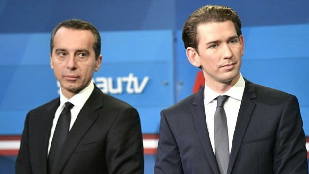 Christian Kern und Sebastian Kurz (Bild: APA/HANS KLAUS TECHT)