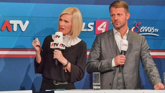 Sylvia Saringer (ATV), Michael Fleischhacker (ServusTV) (Bild: ATV)