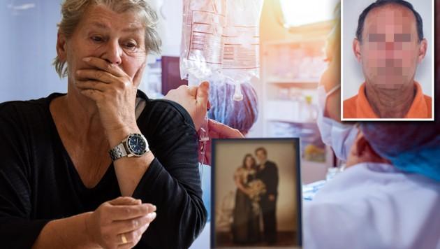 Die Witwe trauert um ihren Mann. Der Pfleger wurde verurteilt. (Bild: Markus Wenzel, stock.adobe.com, krone.at-Grafik)