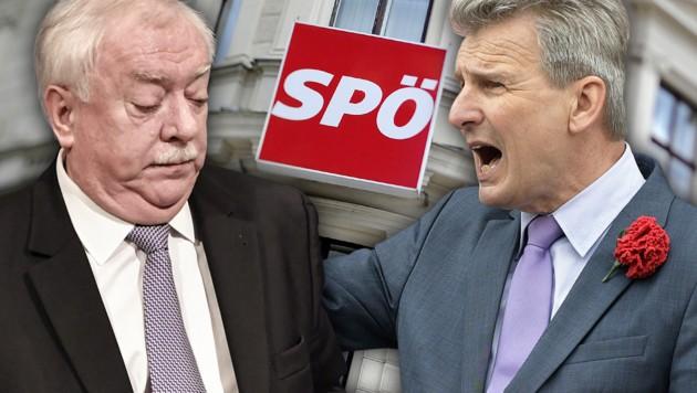 Roten Grabenkämpfe: Bürgermeister Häupl ist gegen eine Koalition mit der FPÖ, ÖGB-Chef Foglar dafür. (Bild: APA, krone.at-Grafik)