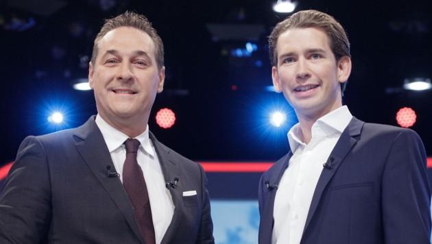 FPÖ-Chef Heinz-Christian Strache und ÖVP-Chef Sebastian Kurz (Bild: APA/GEORG HOCHMUTH)