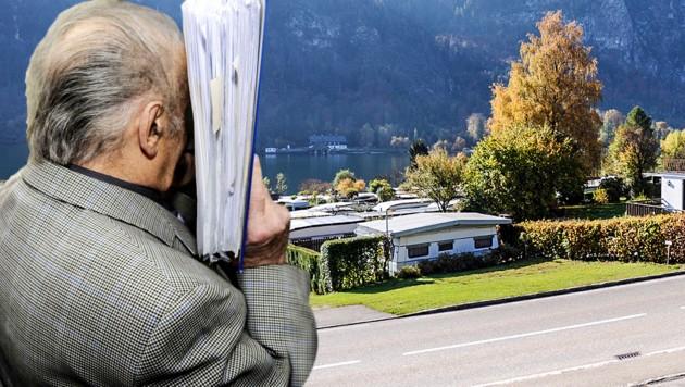 Unterach am Mondsee: Fritzl betrieb dort jahrelang eine Pension. (Bild: APA/HELMUT FOHRINGER, Klemens Fellner, krone.at-Grafik)