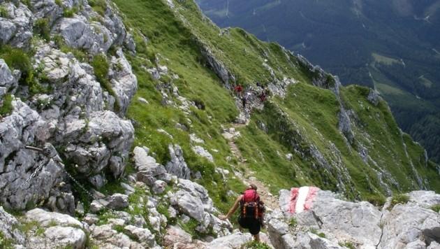 Am Hofersteig am Großen Pyhrgas verließ den Bergsteiger der Mut (Bild: Dieter Wissekal)