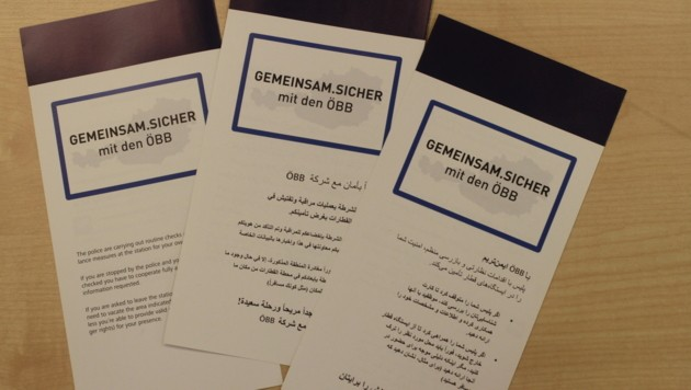 Die neue Hausordnung der ÖBB in Englisch, Arabisch und Farsi (Bild: Kronen Zeitung)