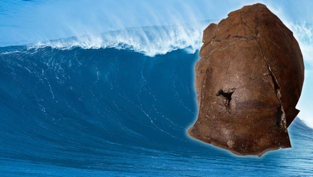 """Der Schädel des vermutlich """"ältesten Tsunami-Opfers der Welt"""" (Bild: AFP, stock.adobe.com, krone.at-Grafik)"""