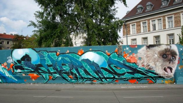 """Ein Graffiti auf der legalen """"Wienerwand"""" am Gumpendorfer Gürtel. (Bild: Stefan Wogrin, spraycity.at)"""