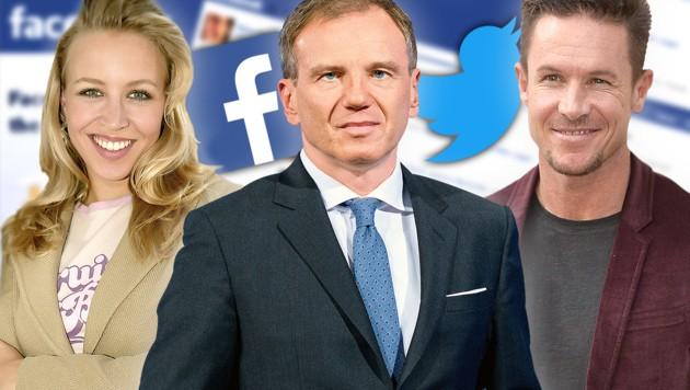 Nina Proll, Armin Wolf, Felix Baumgartner (Bild: APA, dpa, ORF, facebook.com, krone.at-Grafik)