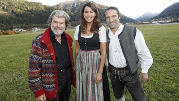Reinhold Messner und Alexander Huber mit Stefanie Schwarz (Wings for Life International). (Bild: Markus Tschepp)