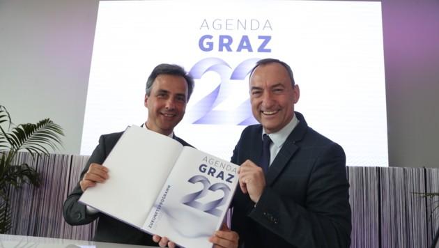 Werkeln in Graz erstaunlich einträchtig in Koalition: VP-Bürgermeister Nagl und FP-Vize Eustacchio. (Bild: KRONEN ZEITUNG)