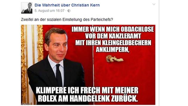 """Auch die Seite """"Die Wahrheit über Christian Kern"""" wurde mittlerweile gelöscht. (Bild: facebook.com)"""