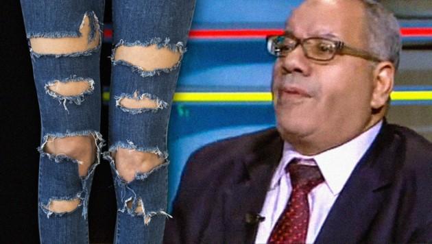 """Anwalt al-Wahsh sieht es als """"nationale Pflicht"""", Frauen mit zerrissenen Jeans zu vergewaltigen. (Bild: YouTube.com, krone.at-Grafik)"""