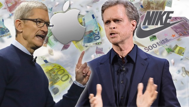 Apple-Chef Tim Cook und Mark Parker von Nike (Bild: AFP/J.Sullivan, AFP/M.Coppola, stock.adobe.com, krone.at-Grafik)