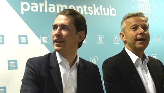 Der neue ÖVP-Klubobmann Sebastian Kurz mit seinem Vorgänger Reinhold Lopatka