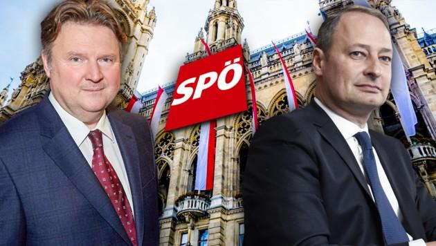 Andreas Schieder (re.) und Michael Ludwig rittern um die Nachfolge von Bürgermeister Michael Häupl. (Bild: thinkstockphotos.de ORF, APA, krone.at-Grafik)