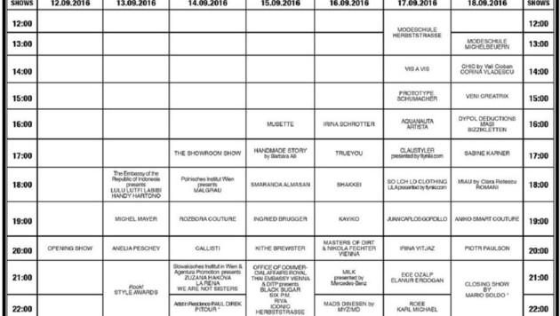 Der Time-Tabel der MQ Vienna Fashion Week (Bild: MQ Vienna Fashion Werek)
