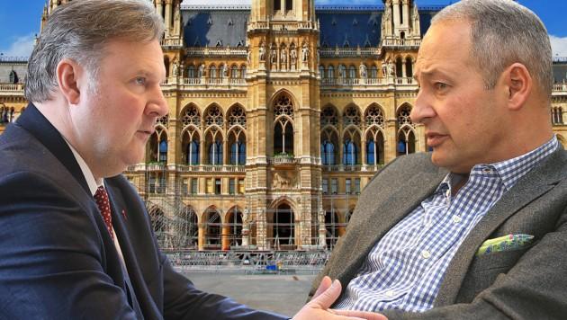 Michael Ludwig und Andreas Schieder buhlen um das Amt des Stadtchefs. (Bild: Zwefo, krone.at-Grafik, stock.adobe.com)