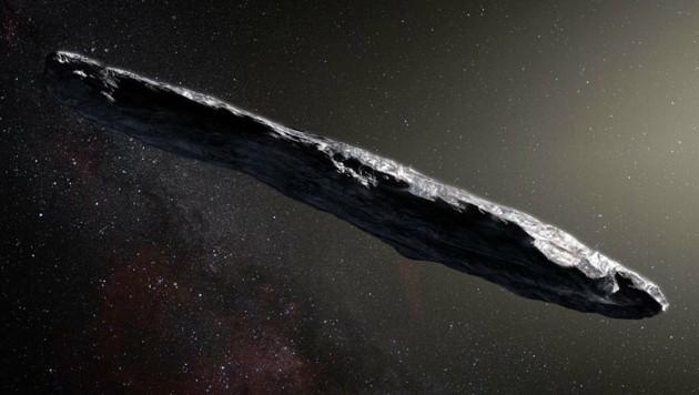 """Künstlerische Darstellung des interstellaren Gastes """"Oumuamua"""" (Bild: ESO/M. Kornmesser)"""