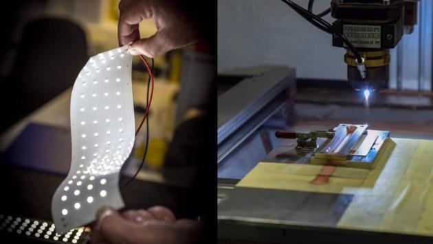 Inocon kann elektrisch leitende Verbindungen auf Kunststoff (l.) und Papier aufbringen. (Bild: Markus Wenzel)