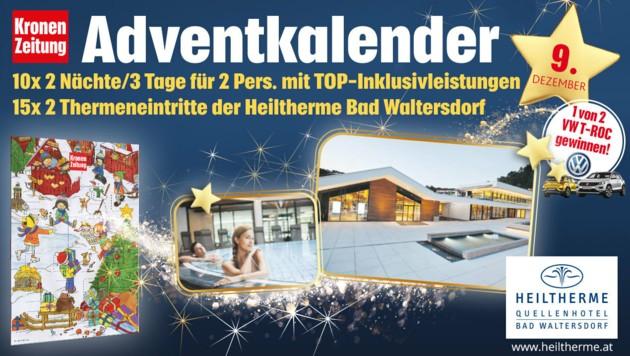 (Bild: Kronen Zeitung, VW, Heiltherme Bad Waltersdorf)