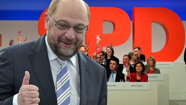 SPD-Chef Martin Schulz bittet die SPD-Mitglieder in einem Brief um Zustimmung für die Aufnahme von Koalitionsverhandlungen mit der Union. (Bild: AP, AFP)