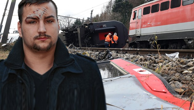 Der 18-jährige Richard N. saß beim Unglück in einem der Züge. (Bild: APA/HERBERT P. OCZERET, Peter Tomschi, krone.at-Grafik)