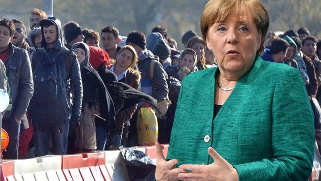 Deutschlands Kanzlerin Angela Merkel ist wegen des Asylthemas in Bedrängnis geraten. (Bild: APA/BARBARA GINDL, AP, krone.at-Grafik)