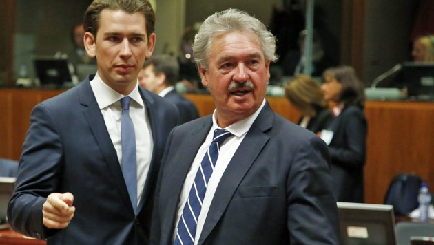 Asselborn (re.) und Kurz bei einem Außenministerrat 2016 in Brüssel (Bild: APA/BMEIA/DRAGAN TATIC)