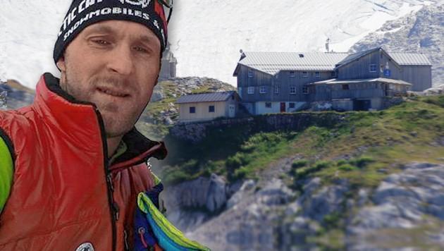 "Hüttenwirt Christoph Mitterer (38) wurde zum Lebensretter. (Bild: ""Krone"", Simonyhütte, krone.at-Grafik)"