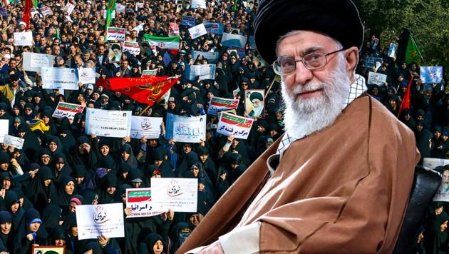 Ayatollah Ali Khamenei sieht sich mit Massenprotesten konfrontiert. (Bild: AP, krone.at-Grafik)