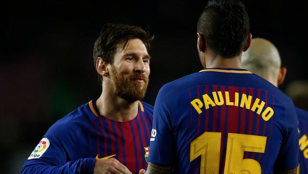 Lionel Messi und Paulinho (beide trafen)