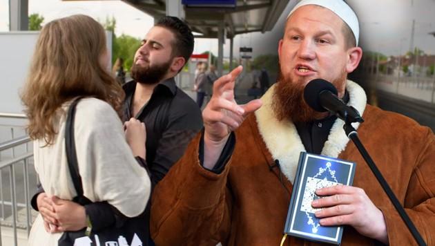 Malvinas große Liebe Diaa (links) ist offenbar ein Fan von Pierre Vogel. (Bild: kika.de, AFP, krone.at-Grafik)