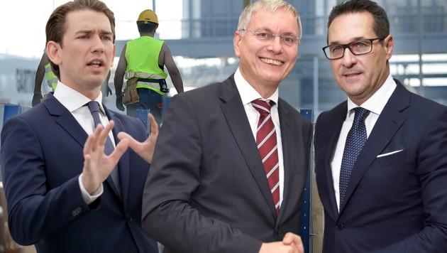 Sebastian Kurz (links), Alois Stöger, Heinz-Christian Strache (Bild: APA, krone.at-Grafik)