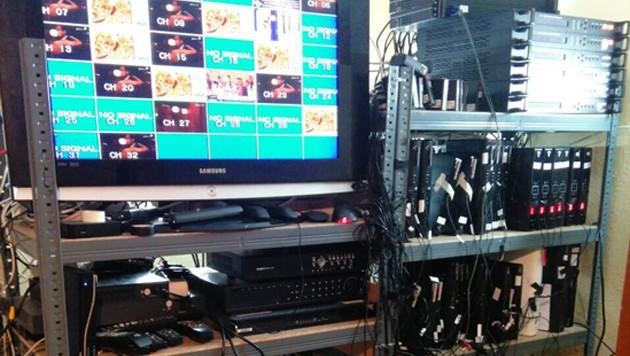 Eine Aufnahme aus dem Serverzentrum des Streaming-Rings (Bild: Europol)