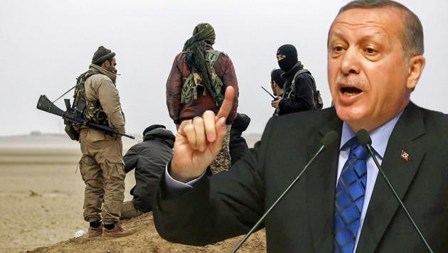"""Der türkische Präsident Recep Tayyip Erdogan fühlt sich vom NATO-Partner USA hintergangen und betrachtet die kurdisch-arabische """"Grenzschutzruppe"""" in Nordsyrien als Terrorgefahr."""