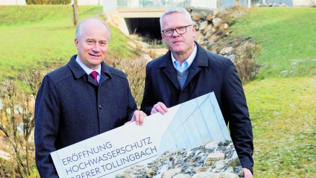 Landesrat Hans Seitinger (li.) und Voestalpine-Vorstandsmitglied Franz Kainersdorfer (Bild: Voestalpine/Regine Schöttl)