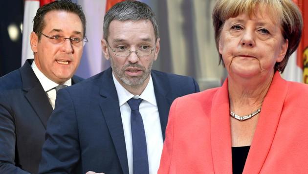 Vizekanzler und FPÖ-Chef Heinz-Christian Strache, FPÖ-Innenminister Herbert Kickl, die deutsche Kanzlerin Angela Merkel (Bild: APA/GEORG HOCHMUTH, AFP, APA/HELMUT FOHRINGER, krone.at-Grafik)