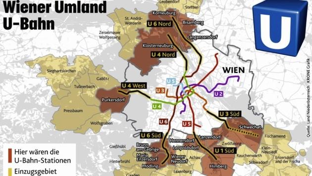 """Neues Öffi-Streckennetz: Die ersten konkreten Pläne liegen jetzt auf dem Tisch. (Bild: Land Niederösterreich, """"Krone""""-Grafik)"""