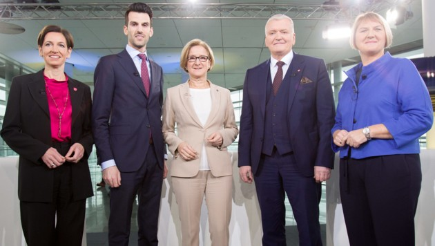 Indra Collini (NEOS), Udo Landbauer (FPÖ), Johanna Mikl-Leitner (ÖVP), Franz Schnabl (SPÖ) und Helga Krismer (Grüne) (Bild: APA/GEORG HOCHMUTH)