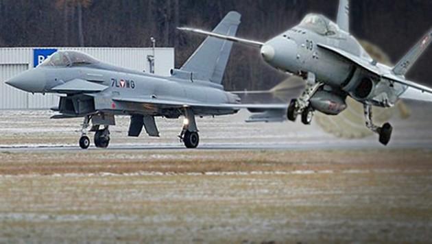 Eurofighter und Kampfjets vom Typ F-18 Hornet auf gemeinsamer Mission