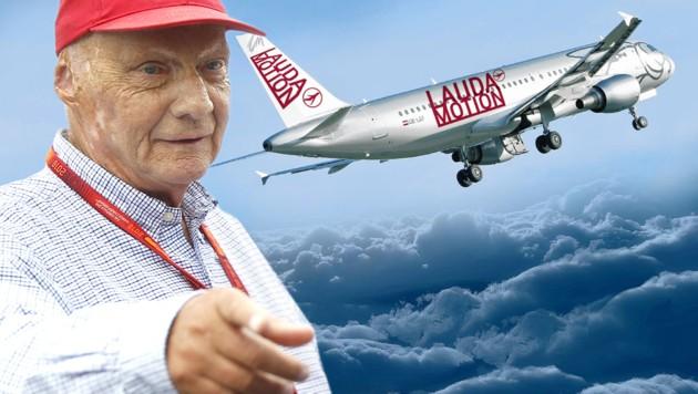 """Die """"Krone""""-Fotomontage zeigt, wie eine Maschine von Laudas Airline künftig aussehen könnte."""