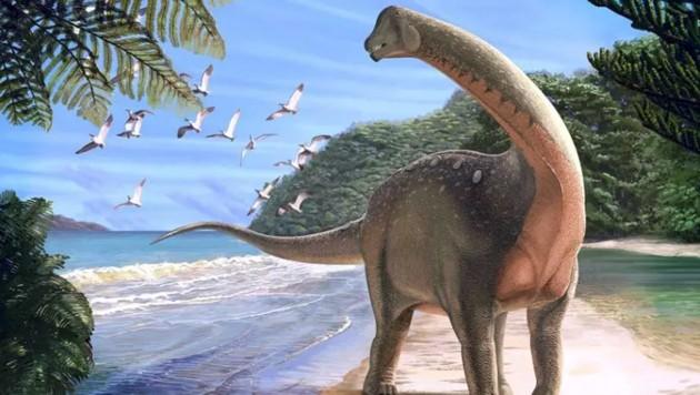 Künstlerische Illustration: So könnte Mansourasaurus shahinae ausgesehen haben (Bild: Andrew McAfee, Carnegie Museum of Natural History)
