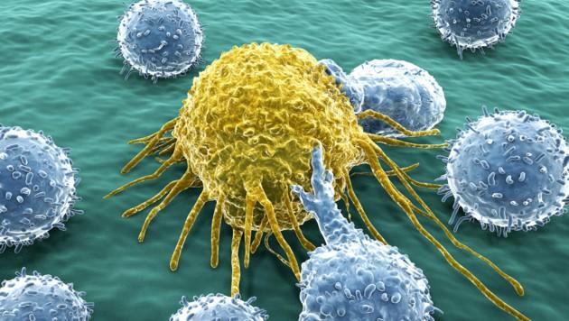 Künstlerische Illustration einer Krebszelle (gelb) (Bild: Juan Gärtner/stock.adobe.com)