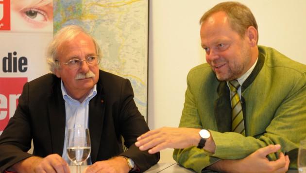 Josef Ackerl (SPÖ) und Josef Stockinger ÖVP), hier 2010 in ihrer Aktivzeit als Politiker.