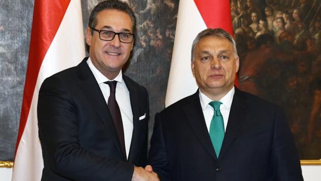 Der ungarische Premierminister Viktor Orban und Vizekanzler Heinz-Christian Strache (Bild: APA/HANS PUNZ)