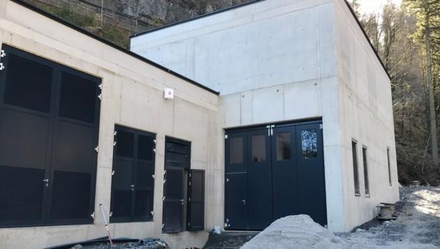 Im Bau befindliches Krafthaus des Kleinkraftwerks Taurach