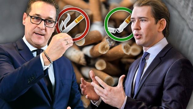 Vizekanzler Heinz-Christian Strache greift regelmäßig zur Zigarette, Kanzler Sebastian Kurz ist Nichtraucher. (Bild: APA/dpa, APA, krone.at-Grafik)
