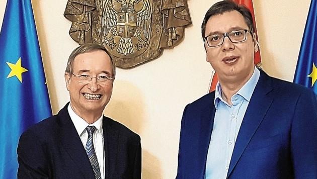Seit Jahren Unterstützung für Serbiens Aufbruch nach Europa: Wirtschaftskammerchef Christoph Leitl auf Erkundungsmission bei Staatschef Vucic