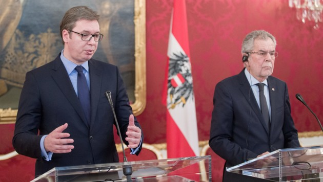 Aleksandar Vucic und Alexander Van der Bellen in der Hofburg
