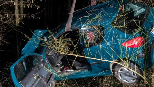 Wrack im Graben: 4 Tage später starb der Beifahrer (Bild: FOTOKERSCHI.AT/KERSCHBAUMMAYR)