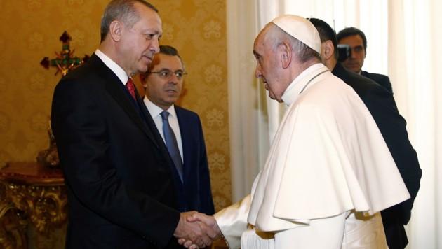 Papst Franziskus empfängt Recep Tayyip Erdogan.